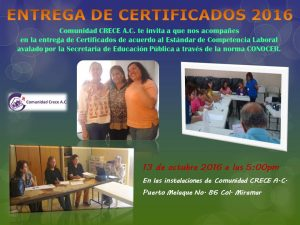Entrega de Certificados EEDUCAP A.C. 2016